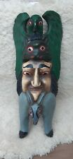 More details for painted wood carving face mask in style of totum pole