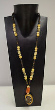 Necklace Vintage African Doum Palm Nut Philippines Beads Tree Seeds Carnelian