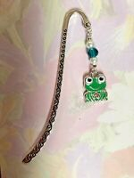 CUTE ENAMEL FROG BOOKMARK Tibetan Silver green enamel Charm Present In Gift Bag