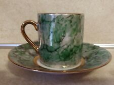 Hues N Brews Gilt Metallic Green Demitasse Tea Cup And Saucer Herman Dodge