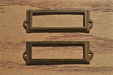 A pair antiqued brass file cabinet label holder name plan chest map drawer LH1