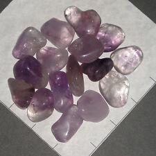 AMETHYST B Grade India med-lg Lt Purple tumbled 1/2 lb bulk stones quartz