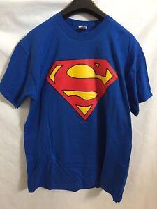 T-SHIRT SUPERMAN BLU TAGLIA  S XL   MAGLIA MAGLIETTA 100% COTONE