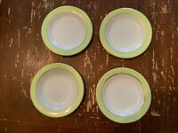 Vintage Pyrex Lime Green With Gold Trim 6.75 Inch Dessert Plate Set Of 4 A
