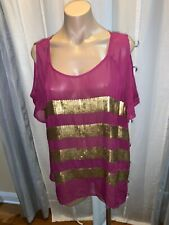 Rock & Republic cold shoulder burgundy w/gold sequin top Size XL