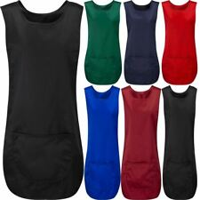 Womens Sleeveless Apron With Front Pocket Tabard Ladies Work Wear Vest Top Lot