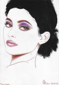 original drawing A4 231PV art samovar Pastel female portrait Kylie Jenner