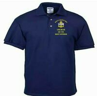 USS BLUE  DD-744 NAVY ANCHOR EMBROIDERED LIGHT WEIGHT POLO SHIRT