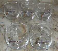 LOT OF 5 ADAMS ANTIQUE GUN COLLECTION ROLY POLY BARWARE WHISKEY COCKTAIL GLASSES
