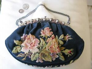 Antique 1890s Silver Frame Black Floral Rose MICRO Petit Point Purse FRANCE