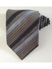Hugo boss men tie striped navy blue and gray 100 % silk excellent condition