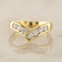 0.35 Carat Diamond Wishbone Ring 18ct Yellow Gold Size L 1/2