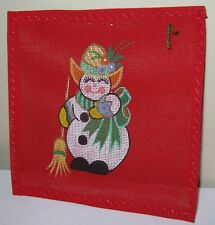 NEW PETIT POINT NEEDLEPOINT HAND PAINTED CHRISTMAS ORNAMENT RED SNOWMAN WOMAN
