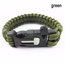 Survival Rescue Paracord Rope Whistle Fire Starter Bracelet