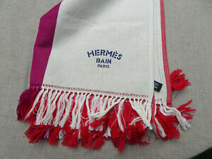 HERMES BEACH TOWEL PAREO COTTON LINEN TRANSAT NWOB FABULOUS