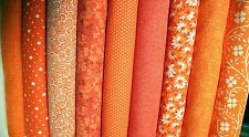 Nine (9) FAT QUARTER Fabric Bundle Orange color family Great Quilting Fabric