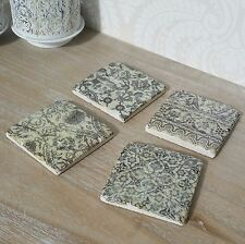 Set of Monochrome Drinks Coasters Retro Shabby Vintage Chic Style Kitchen Home