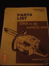 homelite super xl 925, super xl 925w parts list