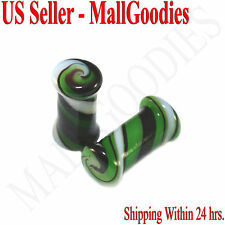 Saddle Ear Plugs 4G Gauge 5mm Spiral 0175 Double Flare Green White Swirl Glass
