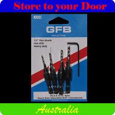 "GFB 4pcs Countersink Drill Bits, HSS Heavy Duty, Adjustable - 1/4"" Hex Shank"