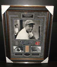 JACKIE ROBINSON LASER ENGRAVED SIGNATURE 1ST GAME FRAMED PHOTO BROOKLYN DODGERS