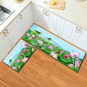 Pond Lotus Flowers Green Leaves Area Rugs Kitchen Bedroom Living Room Floor Mat