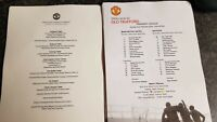 Manchester United v Watford Full colour teamsheet + Menu 23.02.20
