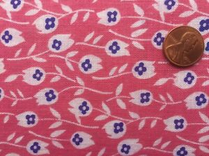 FLORAL Full Vtg FEEDSACK Quilt Sewing Doll Clothes Craft Fabric Pink Blue White