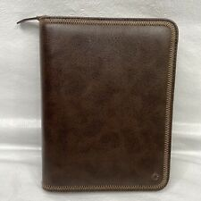 Franklin Covey Brown Full Zip Around 7 Ring Planner Organizer 765410 Leather