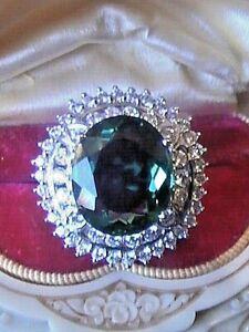 "Estate Vintage ""The Empress"" Huge Green Ametrine 12 CT. Sapphire 14k 925 SZ 6"