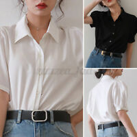 Women Short Sleeve Casual Plain Tops Loose Solid Shirt Basic Tee Ladies Blouse