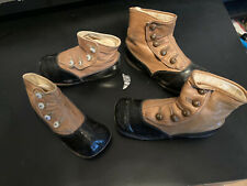 1920's ANTIQUE CHILDS HIGH BUTTON LEATHER SHOES - 2 PAIR
