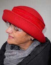 Damen Hut rot Wollhut Anlasshut Damenmütze warm klassisch elegant schick