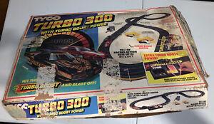 Vintage 1980's Tyco Turbo 300 Race Track Set Electric Racing Slot Car Set