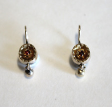 RARE Antique Petite 14k Yellow Gold Victorian Garnet Drop Earrings