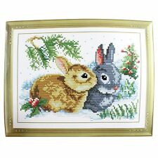 Rabbit Grass Pattern Stamped Cross Stitch Counted Kit for Lady Woman N3