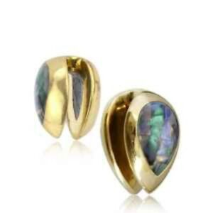 """PAIR 9/16"""" INCH BRASS DROP EAR WEIGHTS SHELL PLUGS TUNNELS STRETCH GAUGE HOOPS"""