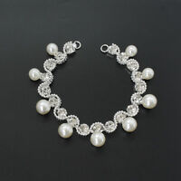Silver Rhinestone Diamante Pearl Crystal Sew on Chain Applique Motif for Wedding