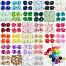 Lot DIY 30mm Satin Ribbon Flower with Crystal Bead Appliques/craft/Wedding Decor