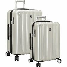 """DELSEY HELIUM TITANIUM TWO-PIECE SPINNER LUGGAGE SET 29"""" AND 21""""  NWT SILVER"""