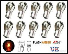 10x Chrome Silver Bulbs Bulb Opposite Pin Indicator Flash Orange Amber BA156 S25