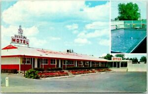 Glendive, Montana Postcard DERRICK MOTEL Highway 10 / 20 Roadside - 1966 Cancel