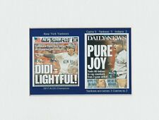 NEW YORK YANKEES WHITEMATTED PHOTO OF NEWSPAPER FRONT PAGES OF WINNING 2017 ALDS