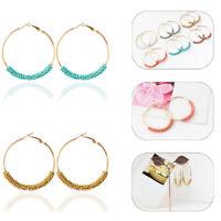 Women Bohemian Multicolor Rice Beaded Big Circle Earring Hoop Jewelry Decor