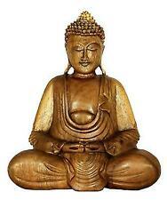 "Wooden Serene Meditating Buddha Art Statue Hand Carved Sculpture Home Decor 8"""