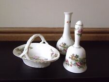Three Pieces Crown Staffordshire Pagoda Bell, Basket and Vase