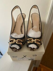 Coach Belle Signature Khaki/Brown Peeptoe Slingback Sandals Size 8B IOB
