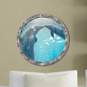 3D Dolphin Ocean Animals Wall Sticker Decals Vinyl Mural Room Decor Fad US _fr