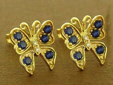 E098 - Genuine 9ct Gold Natural Sapphire & Diamond Butterfly Stud Earrings