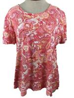 Charter Club Luxury knit top Size XL pima cotton short sleeve pink paisley